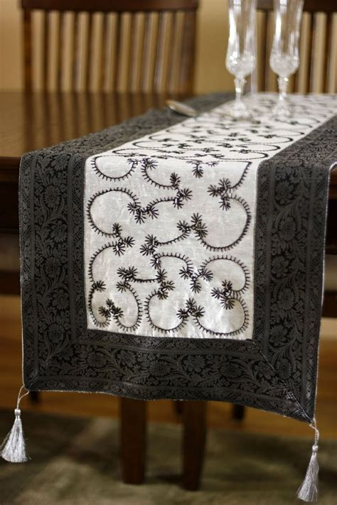 Hand Embroidered Beaded Table Runner   Banarsi Designs