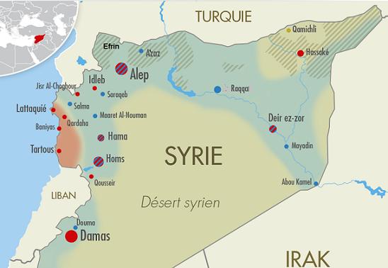 Une partition censée se concrétiser par un « arc de combats » allant de Idleb à Abou Kamal via Alep, Raqqa et Deir ez-Zor, lequel arc serait coupé par la ligne horizontale d'une entité kurde, également fragile, créée dans sa partie nord.