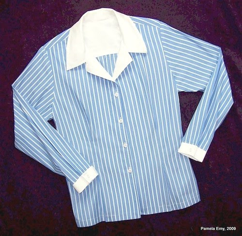 """Pam's Blue Stripe Shirt with front """"Release Tucks"""""""