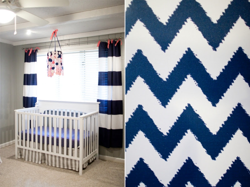 Creative Pink And Navy Babys Nursery Design With Mismatched Prints