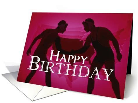 Wrestlers, Happy Birthday, Red, Silhouettes card (632694)