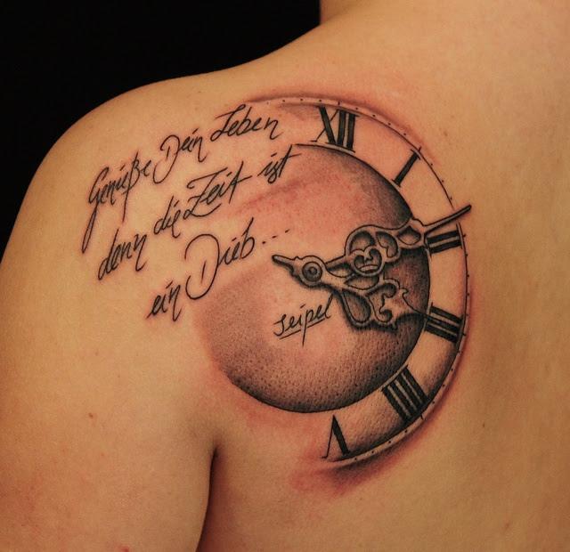 Words And Clock Tattoo Tattoomagz
