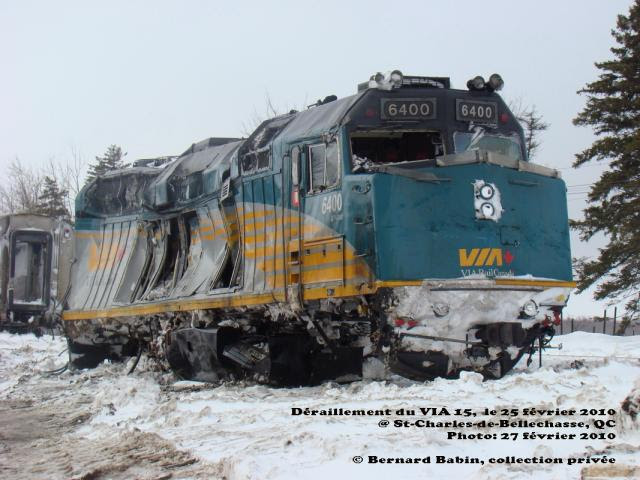 VIA 6400 damaged at derailment site. Photo by Bernard Babin