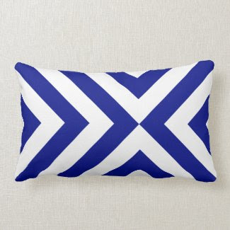 Blue and White Chevrons Throw Pillows
