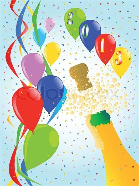 A champagne bottle popping against party ribbons and
