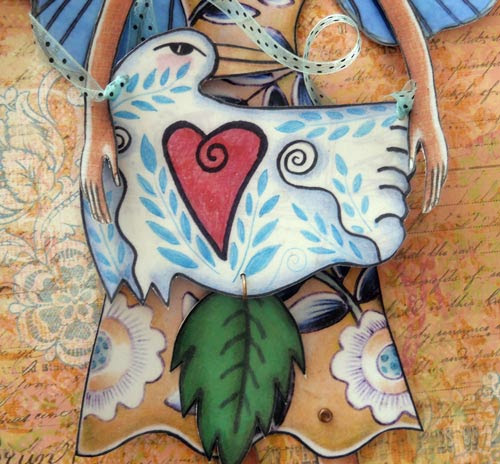 paper-doll bird with leaf birdandflower wrenrose