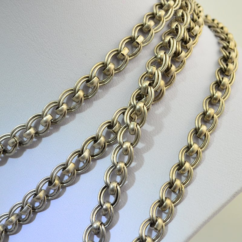 s46011 Chain -  Double Link Curb - Antiqued Silver (Inch)