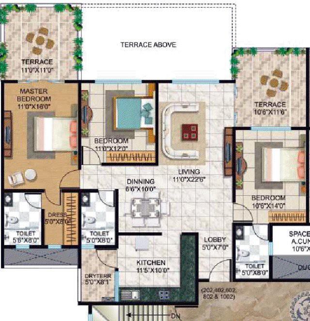 Tuscan Estate Kharadi Pune - B1, B2, B3 Buildings - Flat No. 202, 402, 602, 802, 1002 - 1157 Terrace + 241 Terrace