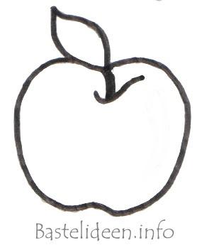 Bastelideen - Herbstbasteln - Apfel Malvorlage