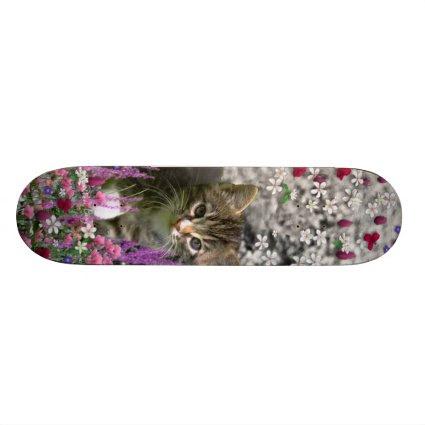 Emma in Flowers I – Little Gray Kitty Cat Skateboard Decks