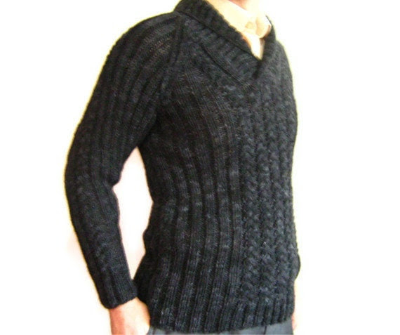 Men sweater. handknitting wool men sweater. stretchy. Long sleeve. Free Shipping. Father' s day.