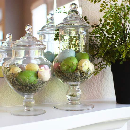 Spring Mantel with Egg-Filled Apothecary Jars