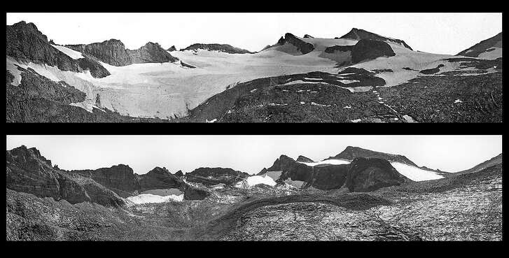 On a geological expedition in 1883, Israel Russell took the top photo of the Lyell Glacier, when its total volume was measured at 1,221,782 square meters. The bottom photo of Lyell Glacier was taken in 2015 by Keenan Takahashi from the exact same site as the 1883 photo. In that span, the measured volume of the glacier has receded from 1,221,782 square meters to 270,426 square meters  meaning that the glacier has lost 90 percent of its volume and 80 percent of its surface area.