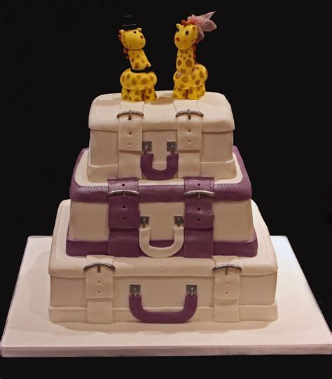 Vanilla: Suitcase cake with purple accents