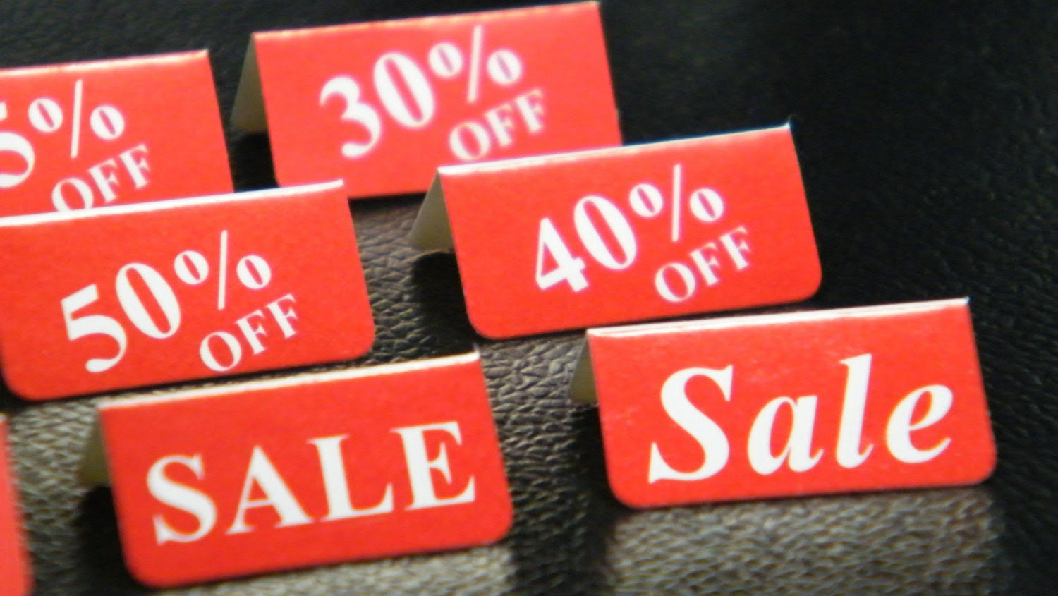 small card stock tent style sales tags, 250 pieces, variety of tags, 1 inch x1 inch flat, sale, supplies, pos