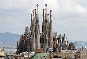 The Sagrada Familia viewed from Casa Milà, Bar...