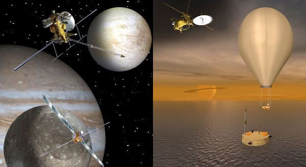 Artist concepts of proposed missions to the Jupiter system (left) and the Saturn system (right).