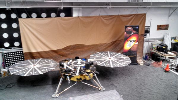 An engineering model of NASA's InSight Mars lander on display inside the In-Situ Instrument Laboratory at the Jet Propulsion Laboratory near Pasadena, California...on December 3, 2014.