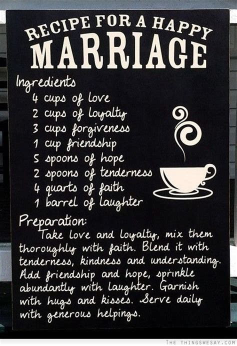 Recipe for a happy marriage   Marriage Quotes   Happy