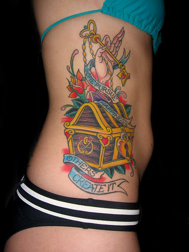 Treasure Chest Side Tattoo,tattoos,tattoo designs