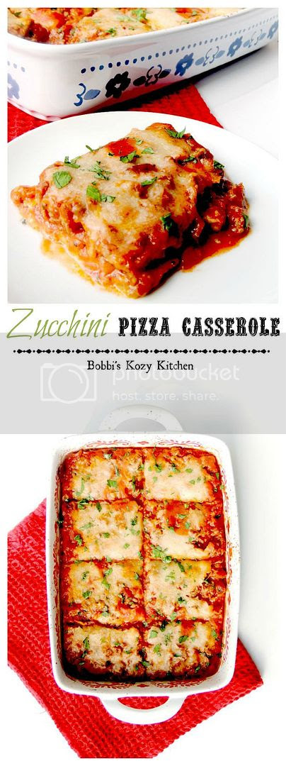 Zucchini Pizza Casserole - An easy way to sneak those veggies in on your non-veggie lovers, with the bonus of being super simple, and gluten free from www.bobbiskozykitchen.com