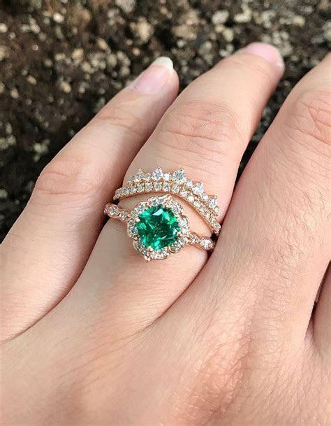 Vintage floral emerald engagement ring,Emerald cut floral