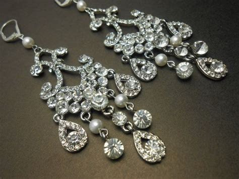 Bridal Chandelier Earrings Long Classic Vintage Crystal