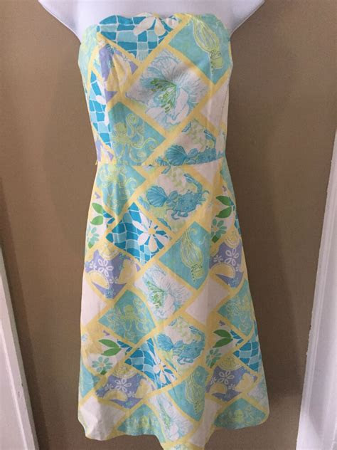 lilly pulitzer strapless octopuscrab lemon dress