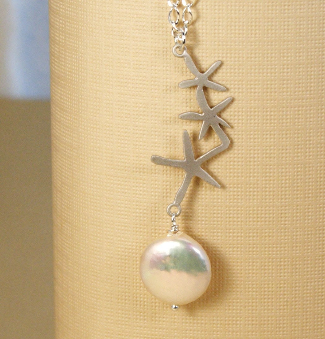 Ivory Pearl and Silver Starfish Necklace