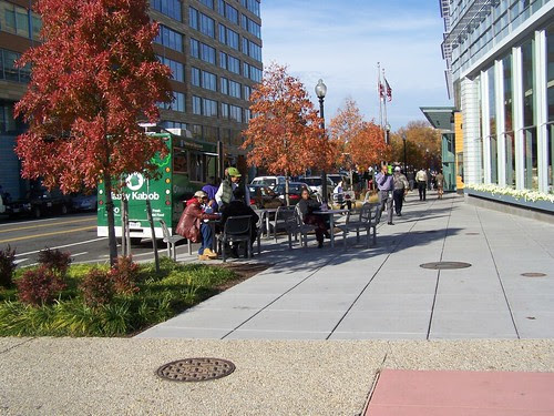 Tables and chairs installed in the streetscape, 4th Street Southwest