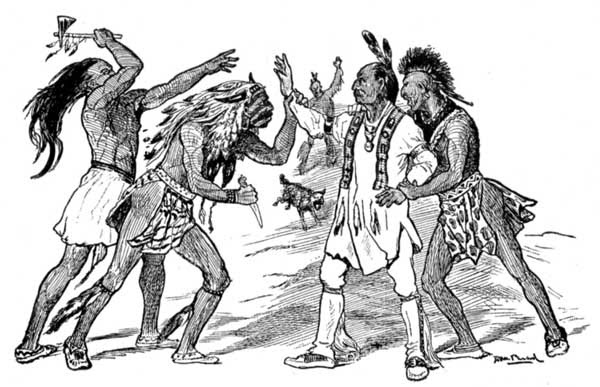"INDIANS THREATENING ""THE PROPHET"""