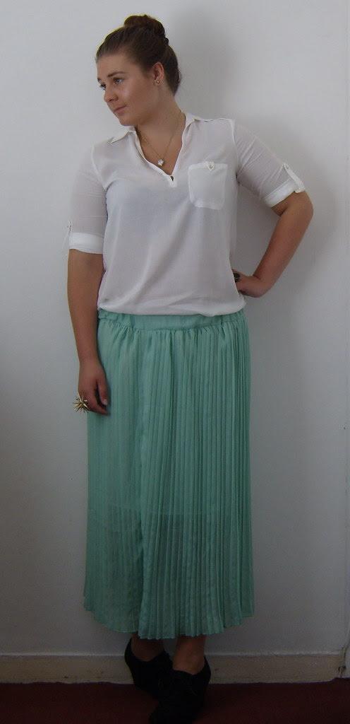 Mint Pleated Maxi Skirt & White Shirt 4