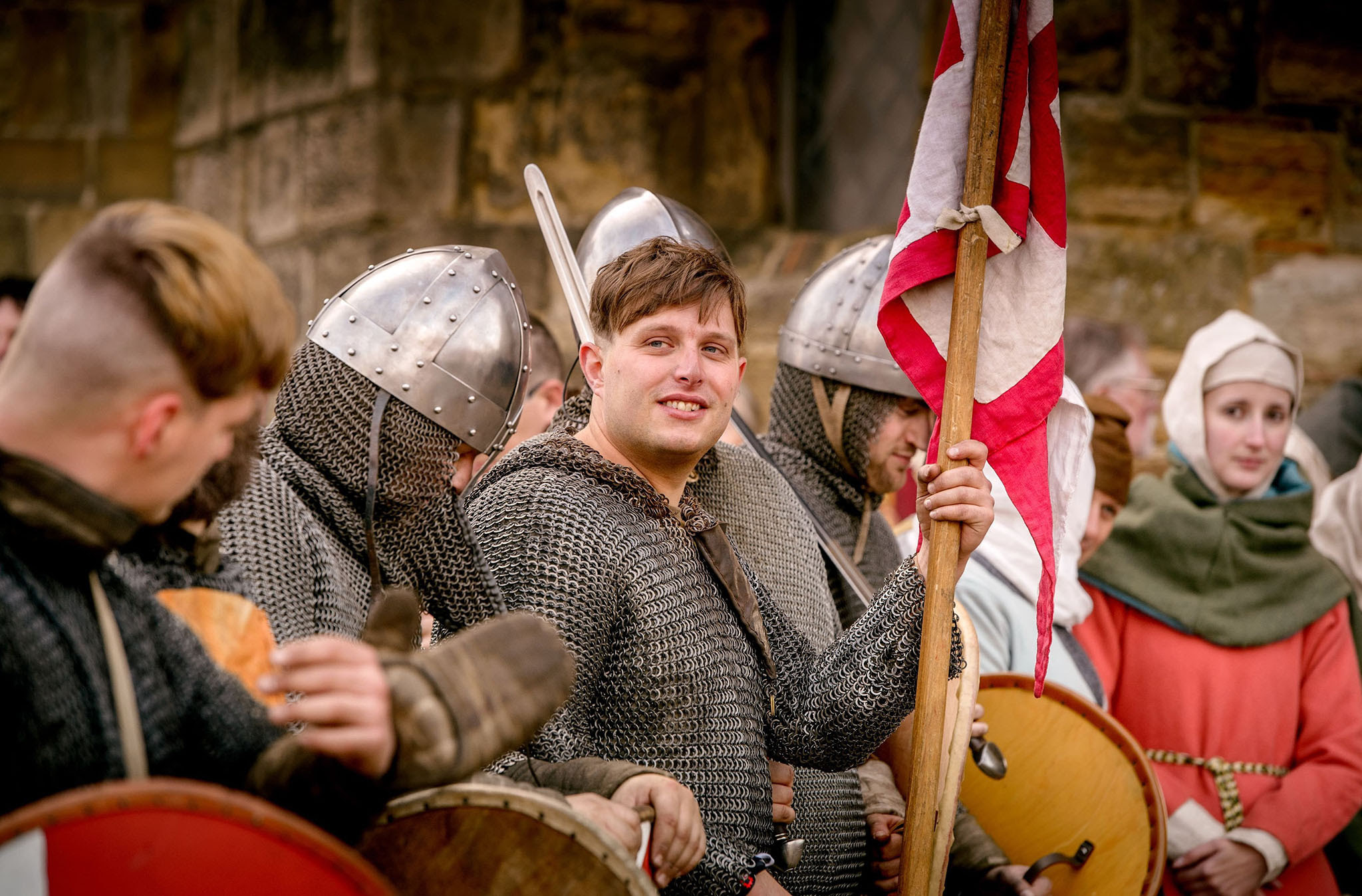 English Heritage handout photo of re-enactors arriving at Battle Abbey in Battle, near Hastings, ending their 300-mile cross-country journey in the East Sussex town where the Battle of Hastings was fought 950 years ago. PRESS ASSOCIATION Photo. Issue date: Friday October 14, 2016. Their three-week march began in York on September 25 and has taken them south on foot and on horseback in an echo of the journey King Harold made to fight in the battle. See PA story HERITAGE 1066. Photo credit should read: Jim Holden/English Heritage/PA Wire  NOTE TO EDITORS: This handout photo may only be used in for editorial reporting purposes for the contemporaneous illustration of events, things or the people in the image or facts mentioned in the caption. Reuse of the picture may require further permission from the copyright holder.