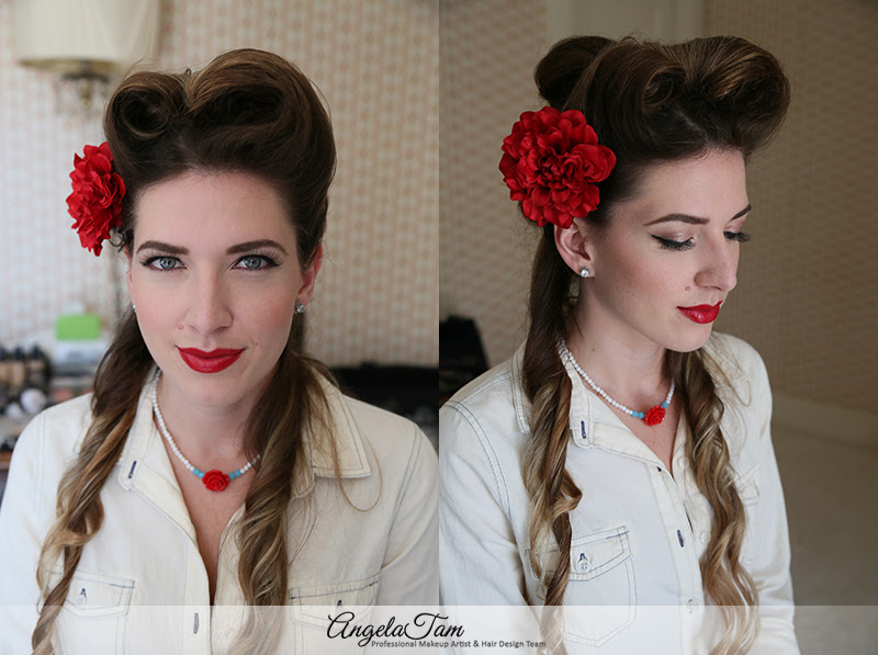 Los Angeles Victory Rolls Hair Style Rockabilly Pinup Girls Makeup