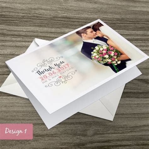 Personalised Folded Wedding Thank You Cards with Photo