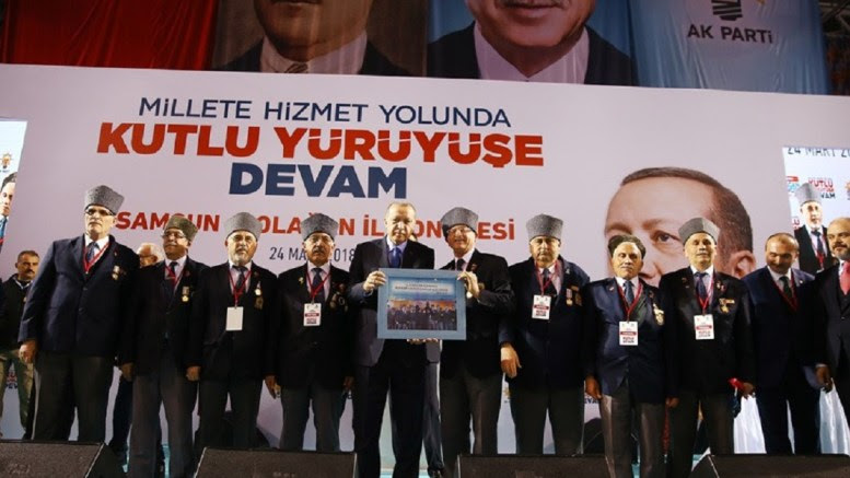 President and AK Party Chairman Recep Tayyip Erdoğan delivered a speech at the Samsun Provincial Congress of the Justice and Development (AK) Party. Photo via Turkish Presidency