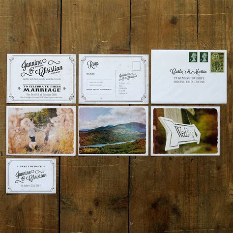 vintage photo postcard wedding invitation by feel good