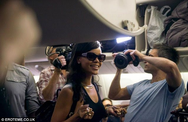 In-flight entertainment: On the first day of the 777 tour Rihanna greeted her passengers with diamond gifts and Champagne