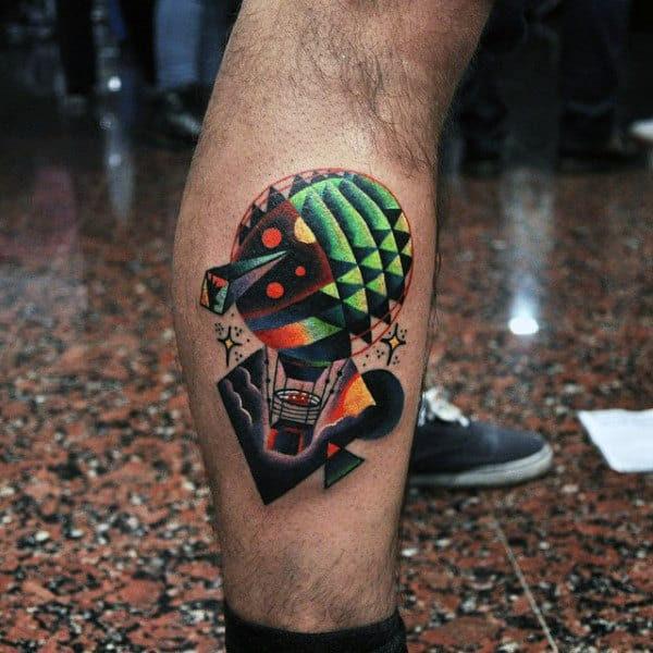 70 Hot Air Balloon Tattoo Designs For Men Basket Full Of Ideas