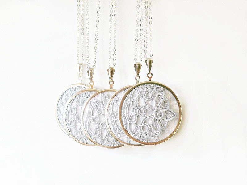 5 Textile necklaces with grey lace in vintage style - bridesmaid jewelry, gift for her