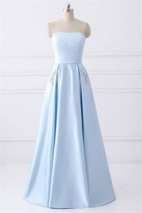 Light Blue Strapless Satin Floor length Prom Dress With