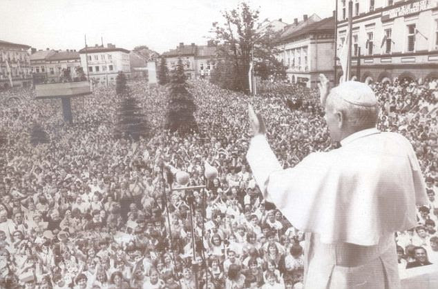 Pope John Paul II waves to huge crowds in his hometown of Wadowice in 1979. Thousands are expected to fill squares in the Polish town to follow Sunday's beatification on large video screens
