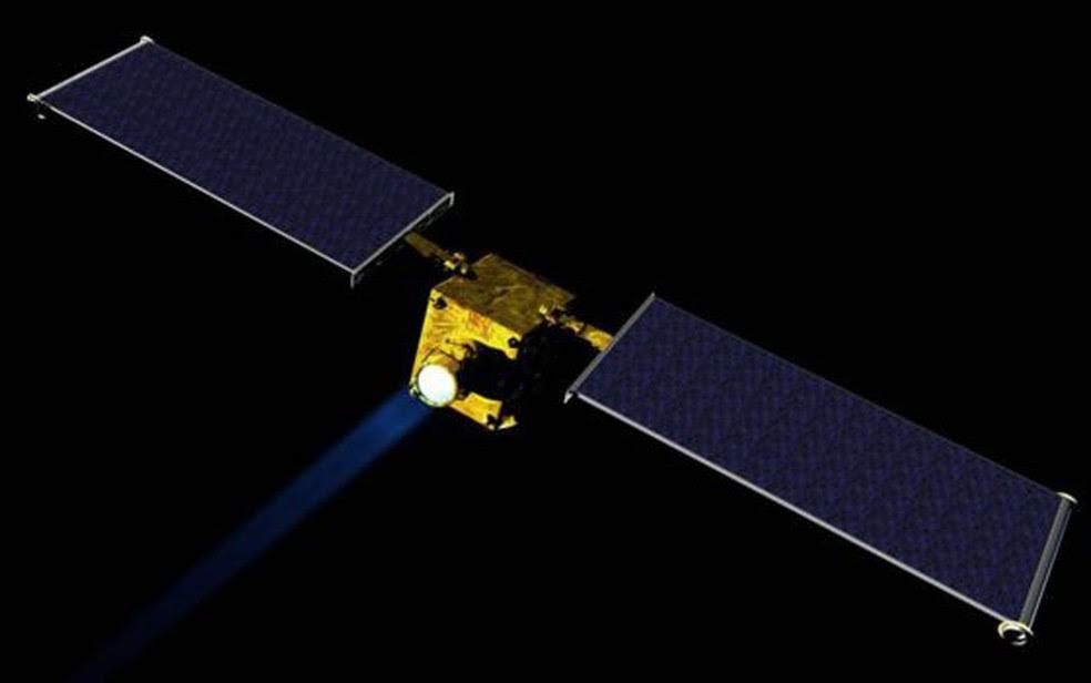 O DART bateria contra o asteroide menor, o Didymos B, para mudar sua órbita (Foto: NASA/JHUAPL)