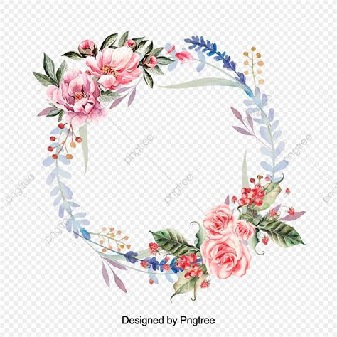 Beautiful Hand Paint Watercolor Floral Wreath, Flower