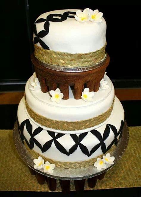 Samoan Wedding Cake, with black flower design, and cava