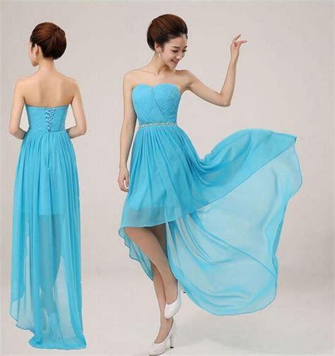 2014 cheap fashion long back short front blue bridesmaid