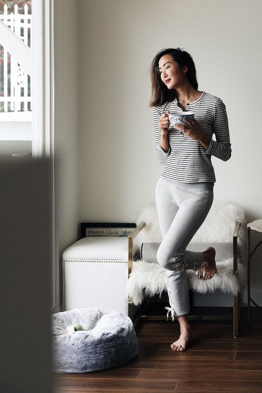 Le Fashion Blog Loungewear Youll Want To Live In Striped Tee Sweatpants Via The Chriselle Factor