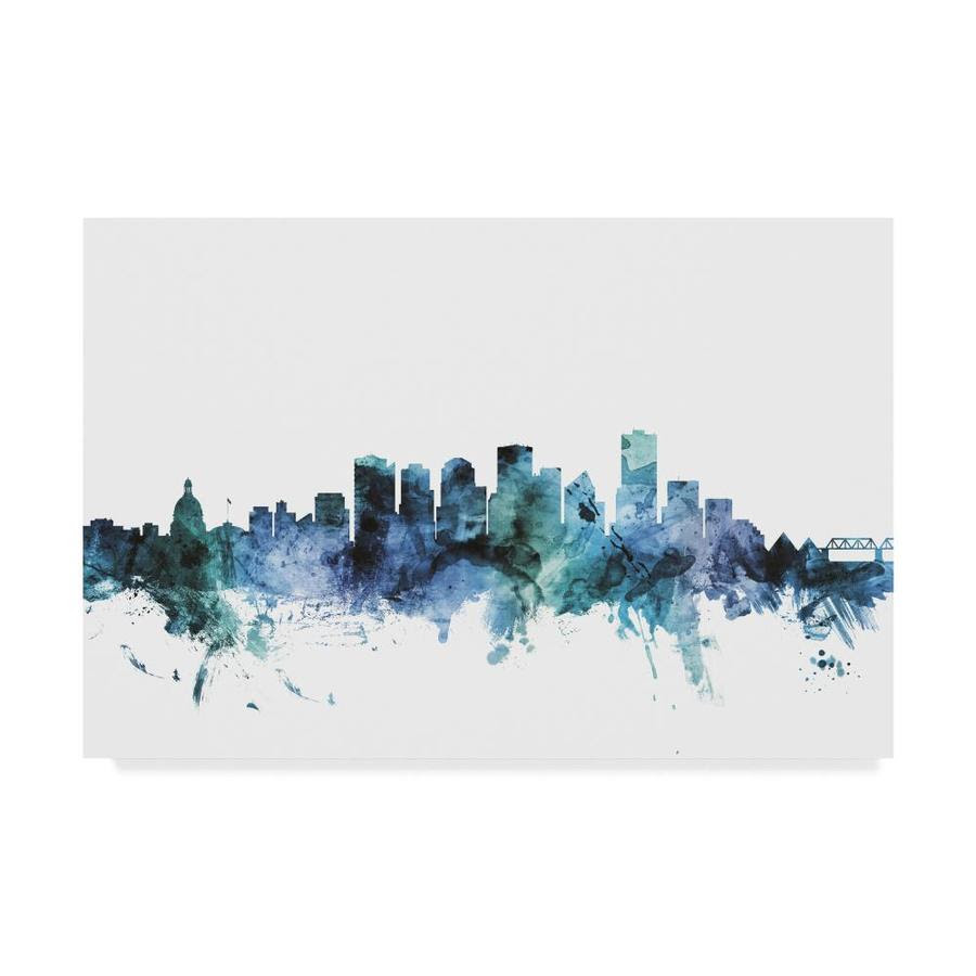 Trademark Fine Art Michael Tompsett Edmonton Canada Blue Teal Skyline 22x32 Canvas Art In The Wall Art Department At Lowes Com