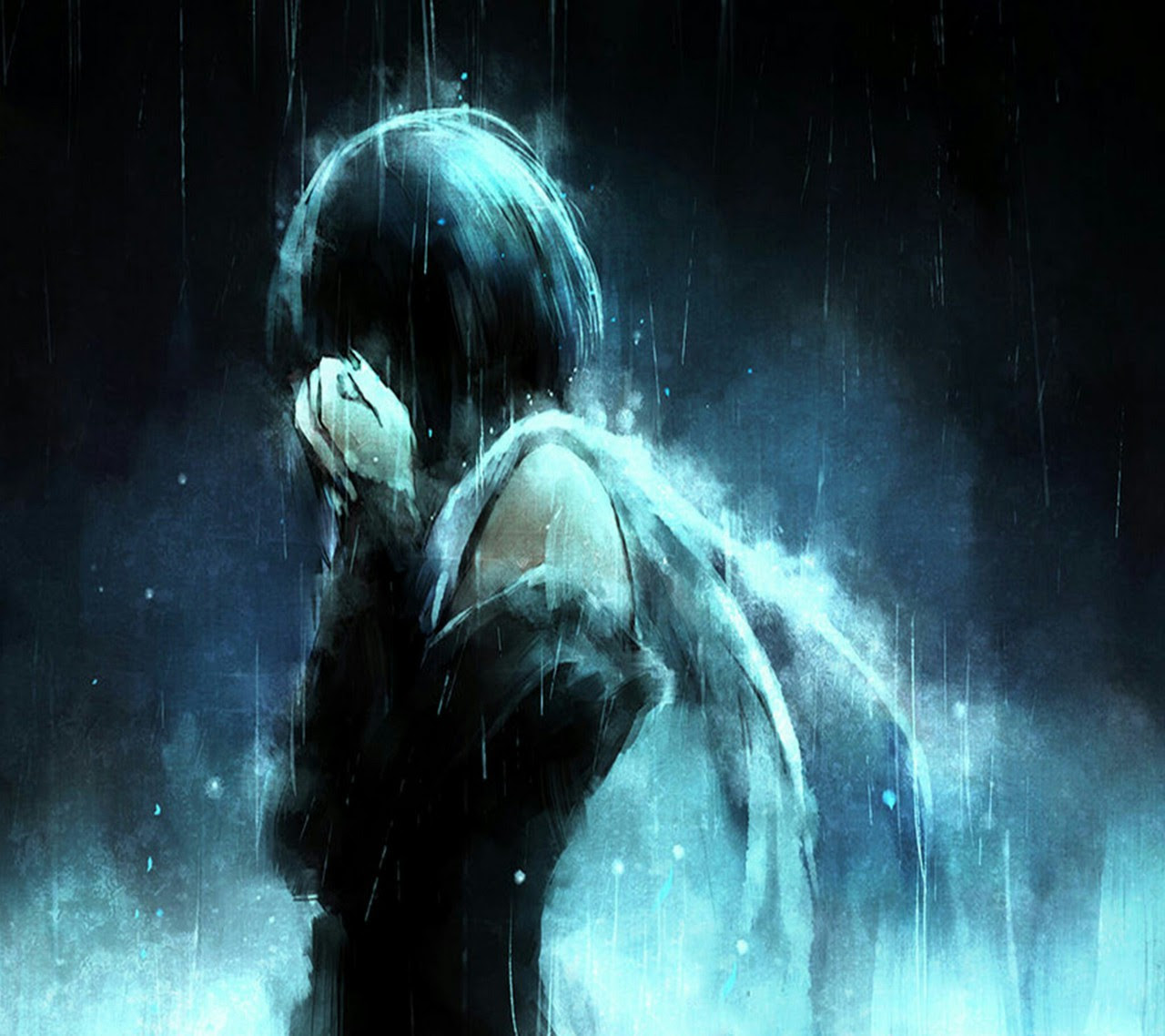 Alone Anime Girl Crying In The Rain - Anime Wallpapers