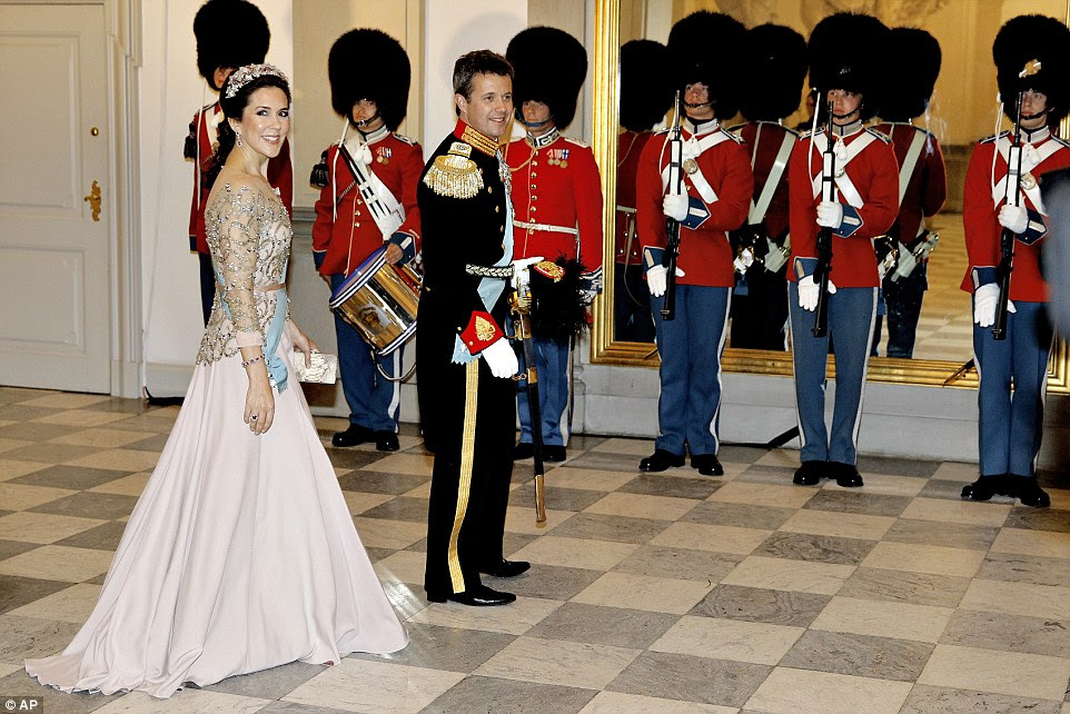 Looking good: Crown Princess Mary, 43, and Crown Prince Frederik arrive for a gala dinner at the Christiansborg Palace last night